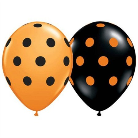 Polka Dot Balloons 11inch Premium Black and Orange with All-Over Print Orange and Black Dots Pkg/12 for $<!---->