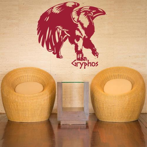 Gryphos Vinyl Wall Art Decal 16in x 15in Royal blue