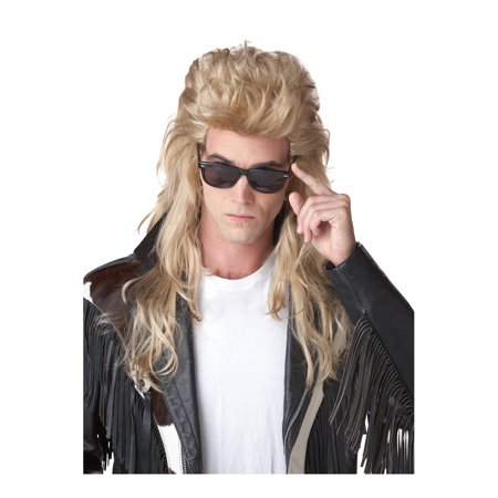 Blonde 80's Rock Mullet Wig Adult Halloween Accessory for $<!---->
