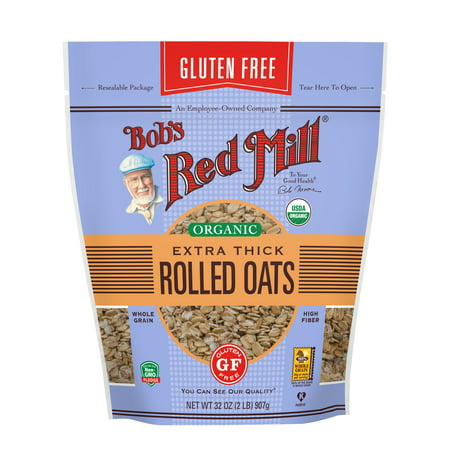 Bob's Red Mill Gluten Free Organic Rolled Oats, Thick, 32 Ounce 32 Ounce Red Nectar