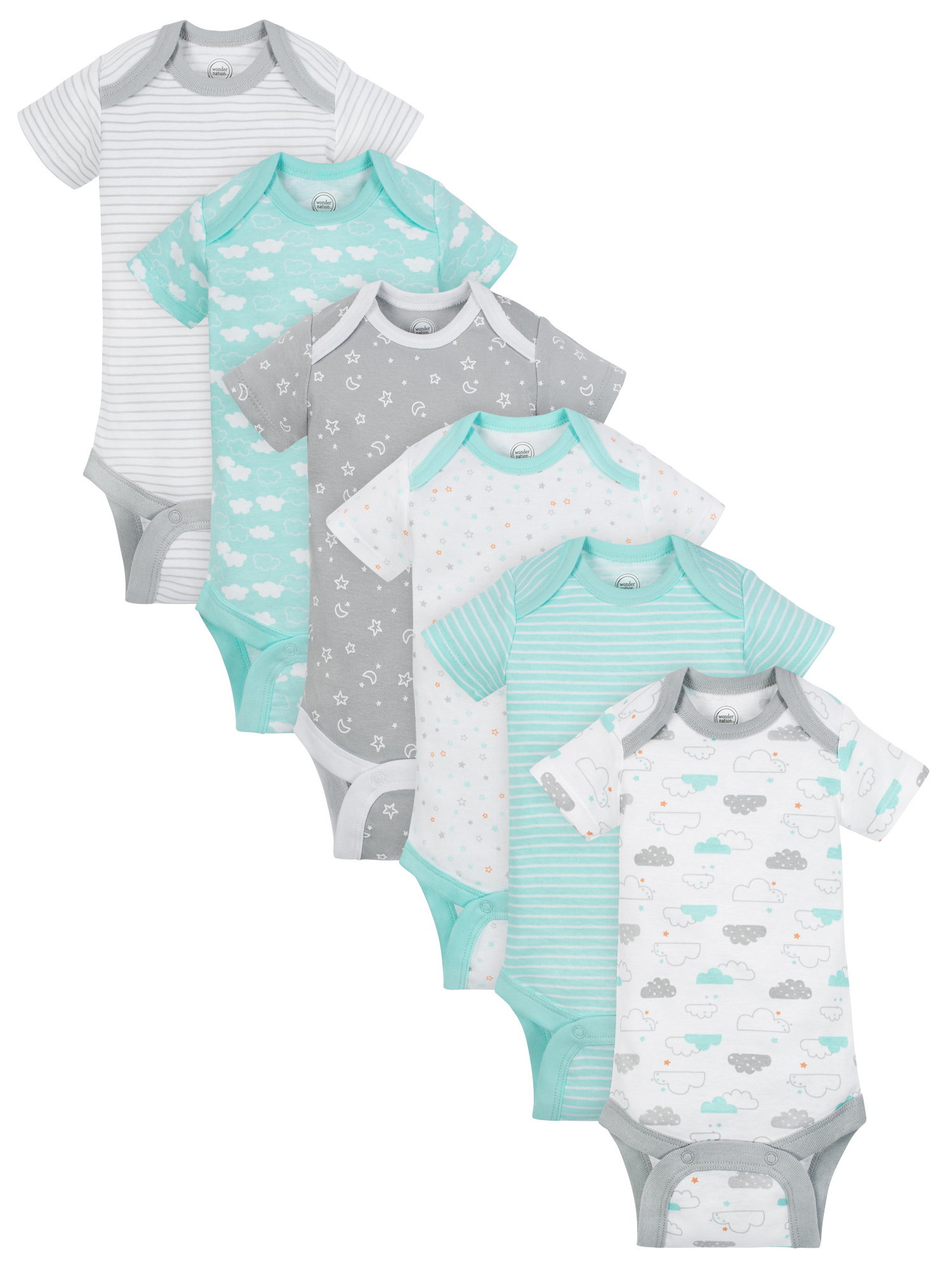 Wonder Nation Short Sleeve Assorted Bodysuits, 6pk (Baby Boys or Baby Girls, Unisex)