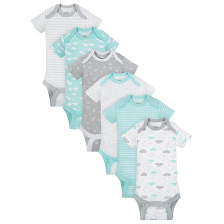 Wonder Nation Short Sleeve Assorted Bodysuits, 6pk (Baby Boys or Baby Girls Unisex) - Baby Wonder Woman Onesie