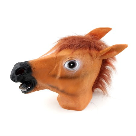 creepy horse mask head halloween costume theater prop nov