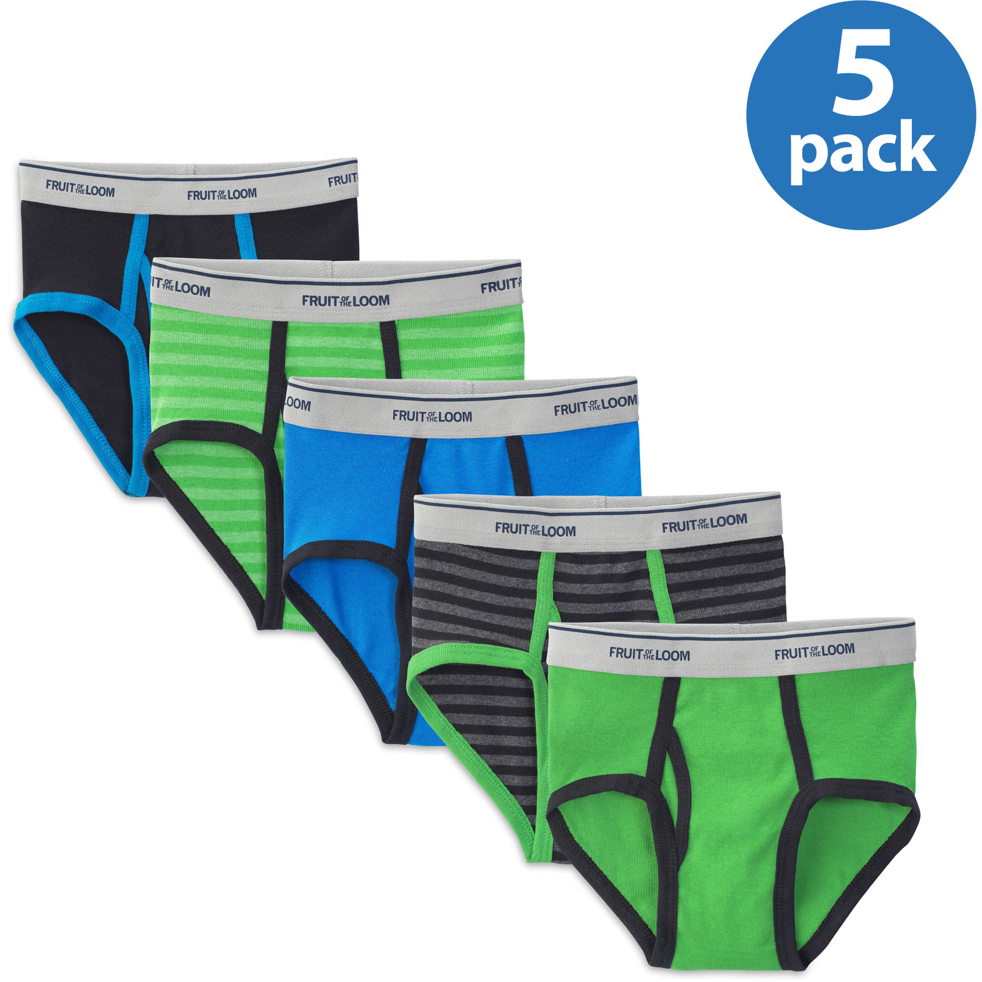 Fruit of the Loom Boys' Stripe/Solid Brief, 5-Pack