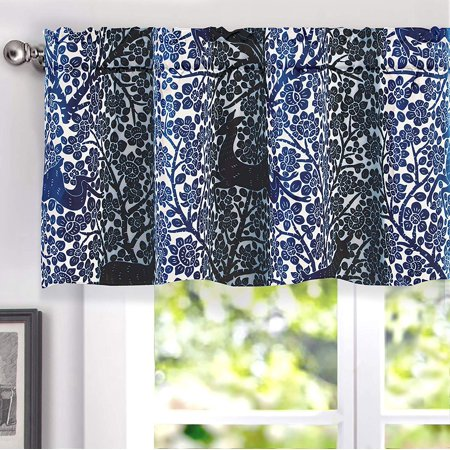 DriftAway Deer Fawn Flower Lined Thermal Insulated Energy Saving Window Curtain Valance for Living Room, 2 Layer,Rod Pocket, 52