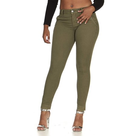 COVER GIRL Womens Skinny Jeans Trouser Pant Style Side Slant Pockets Juniors Size 15/16 Light Olive Green
