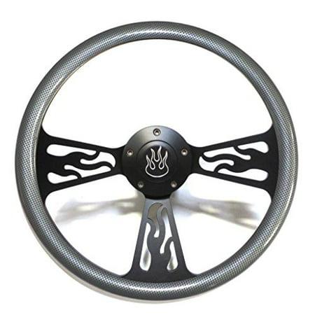 - Hot Rod Street Rod Rat Rod Truck Steering Wheel Carbon Fiber & Black Flames