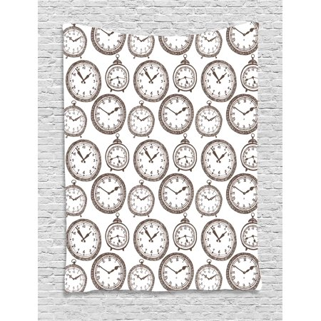 Clock Decor Tapestry, Vintage Pocket Watch with Numbers on It Design Chronometers Decorations for Home, Wall Hanging for Bedroom Living Room Dorm Decor, 40W X 60L Inches, Brown, by Ambesonne