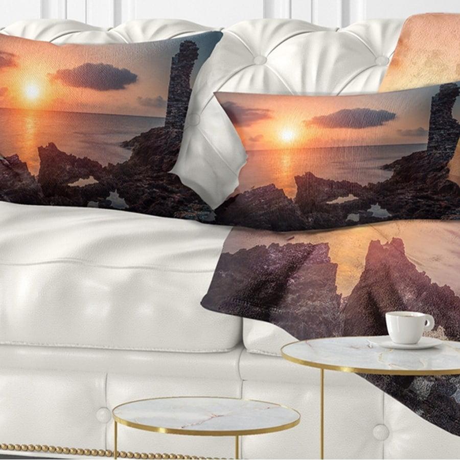 Sofa Designart CU11028-26-26 African Ancient Ruins at Seashore Oversized Beach Throw Cushion Pillow Cover for Living Room 26 x 26