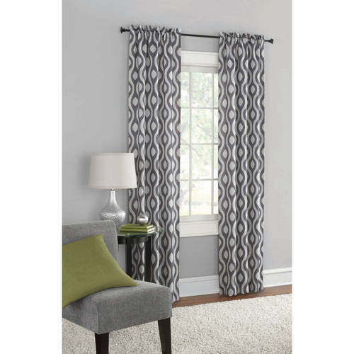 Great Mainstays Blackout Print Woven Window Curtains, Set Of 2