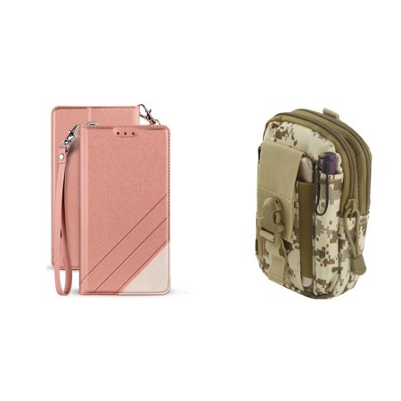 BC Synthetic PU Leather Magnetic Flip Cover Wallet Case (Rose Pink) with Desert Camo Tactical EDC MOLLE Waist Pouch and Atom Cloth for Samsung Galaxy J3 2018 (J337) - Camouflage Wallet
