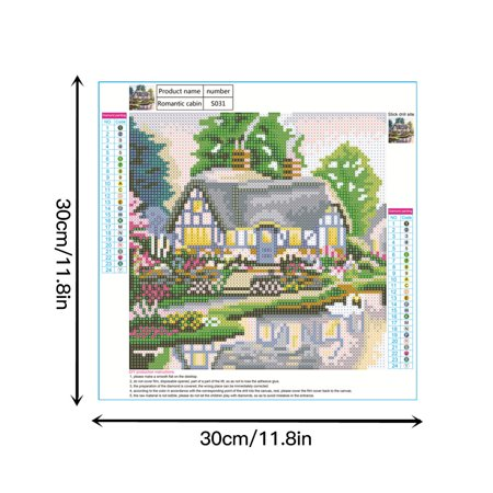 fashionhome Small House 5D Diamond Painting Kits Embroidery Cross Stitch Arts Craft Full Diamond Wall Decoration, Type 3 - image 5 of 8