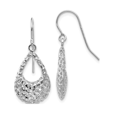 Leslies 10K White Gold Textured Shepherd Hook Dangle Earrings - image 2 of 2