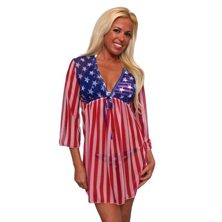 Gorgeous USA Flag Long Sleeve Cover-up Beach Dress Stars and Stripes (Stars And Stripes)
