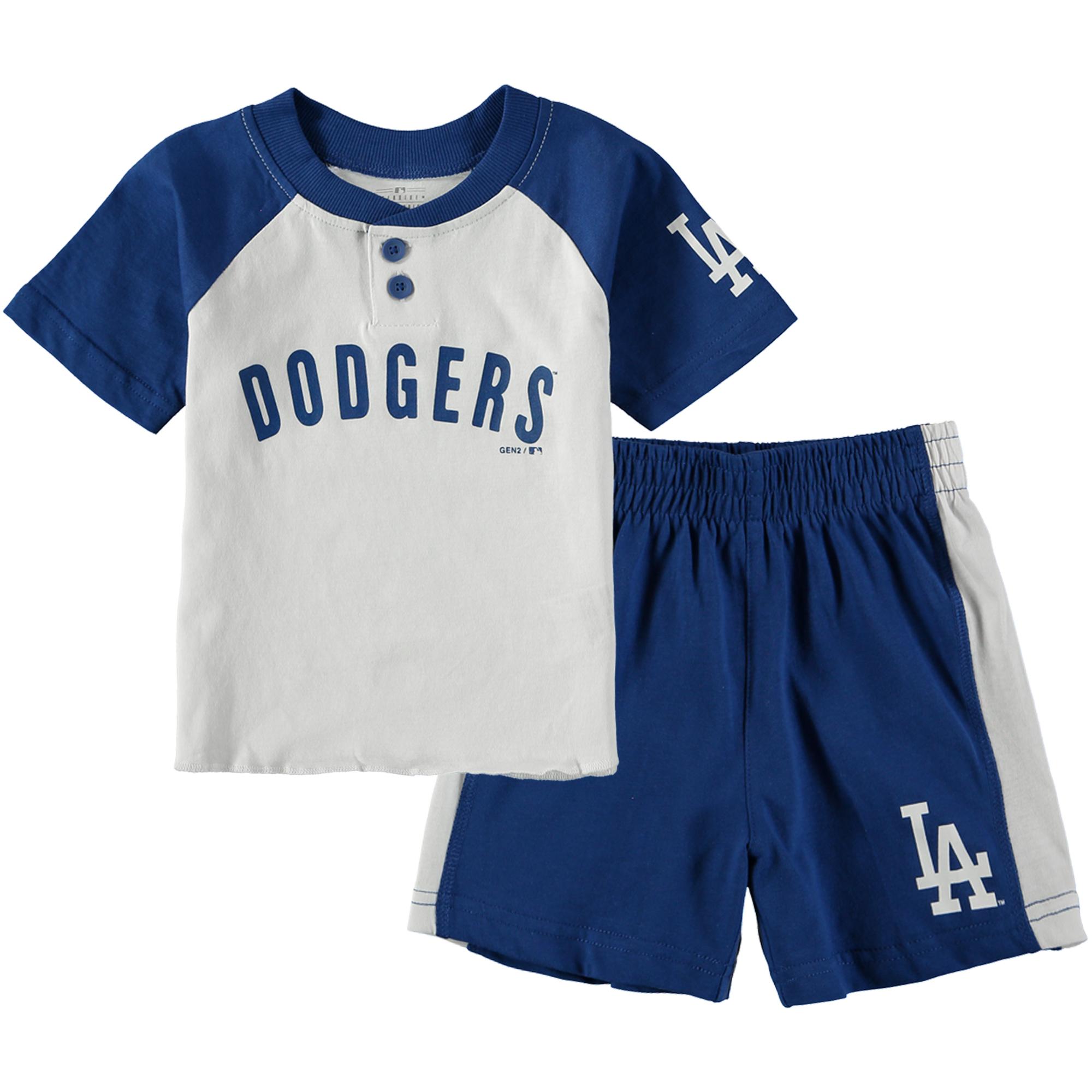Los Angeles Dodgers Toddler Good Hit Henley T-Shirt & Shorts Set - White/Royal