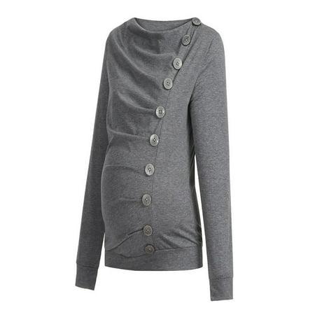 e23f68da337c2 Women Nursing Maternity Long Sleeve Cowl Neck Buttons Tunic Top T ...