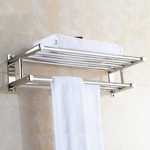 Stainless Steel Double Towel Rack Wall, Hotel Bathroom Towel Shelf