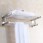 Stainless Steel Double Towel Rack Wall Mount Bathroom Shelf Bar Rail Hotel Style