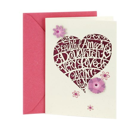 Floral Heart Card - Hallmark Birthday Greeting Card for Daughter (Heart Cutout)