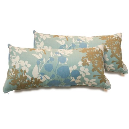 Light Blue Floral Outdoor Throw Pillows Set of 2 - Walmart.com