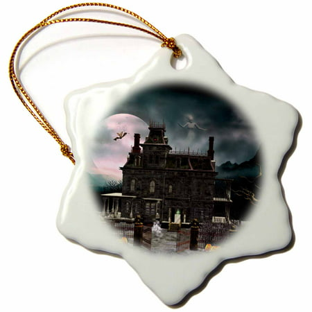 3dRose A Halloween haunted house in the night with ghosts and creatures, Snowflake Ornament, Porcelain, 3-inch](Date For Halloween Night)