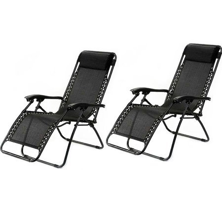 GHP Pack of 2 PVC Mesh Fabric Seats Black Zero Gravity Patio Recliner  Lounge Chairs - GHP Pack Of 2 PVC Mesh Fabric Seats Black Zero Gravity Patio
