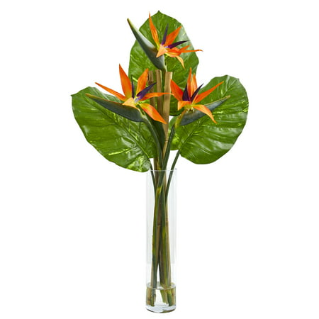 Nearly Natural Bird of Paradise Artificial Arrangement in Cylinder (Artificial Birds Of Paradise)