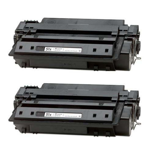 HP Q7551X (51X) High Yield Black Compatible Laser Toner Cartridge (Pack of 2)