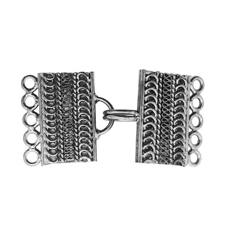 CR-470 Black Rhodium Overlay Multi Strand Clasp With 5 Holes ()