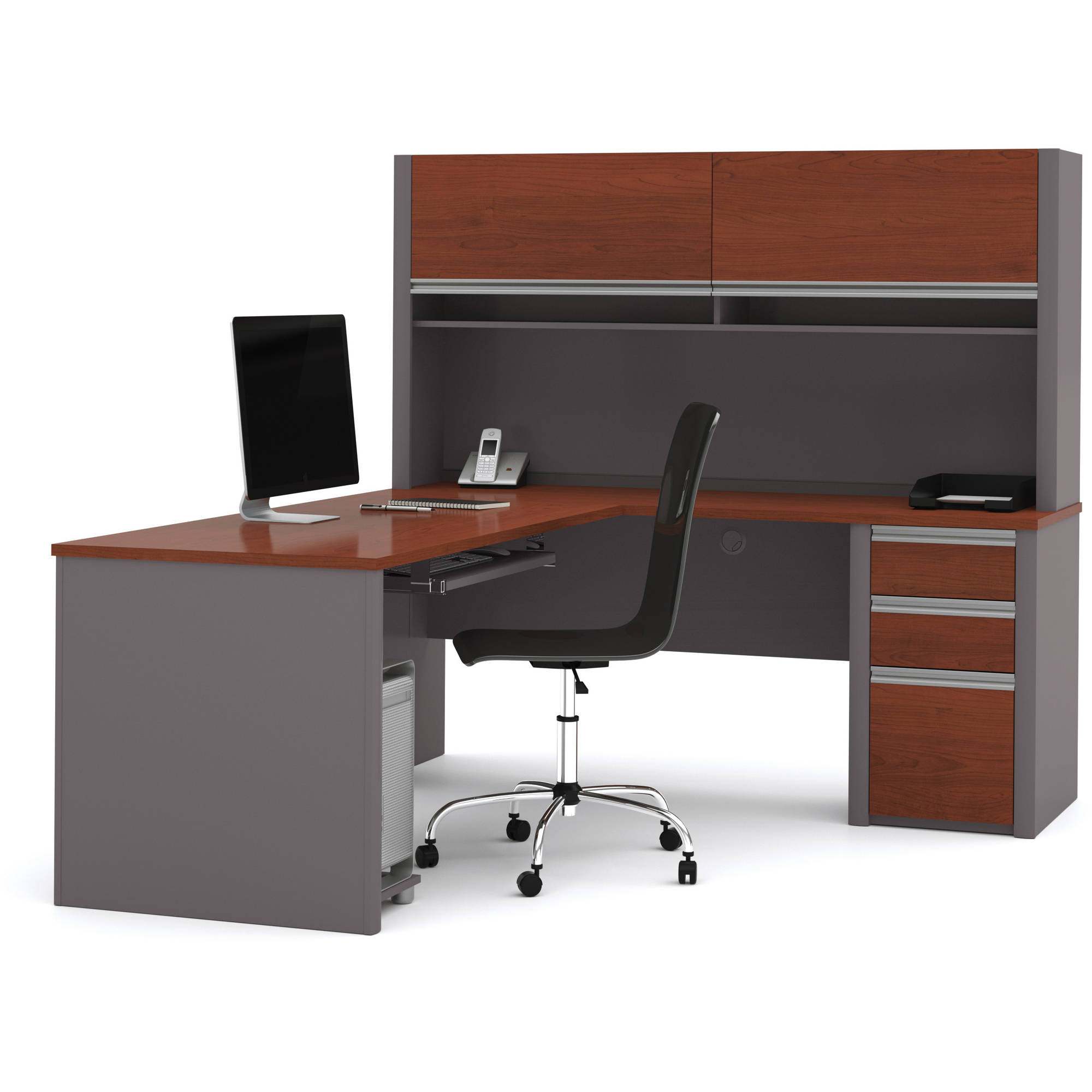 Bestar Connexion L-Shaped Workstation with Hutch, Multiple Colors