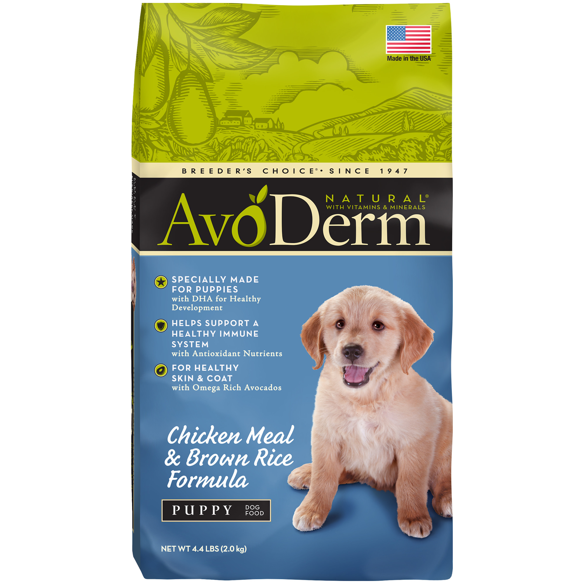 AvoDerm Puppy Food, Natural Chicken Meal and Brown Rice Formula, 4.4-Pound