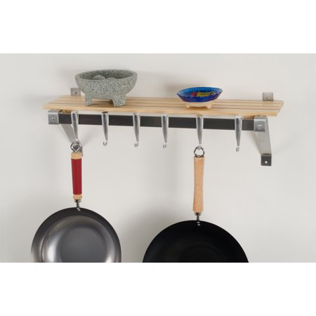 Wall Mount Track (Concept Housewares, Wall Mounted Stainless Steel Track Wall Kitchen Rack with Natural Wood Shelf, cast aluminum hooks suspended from stainless steel track system slide into any desired)