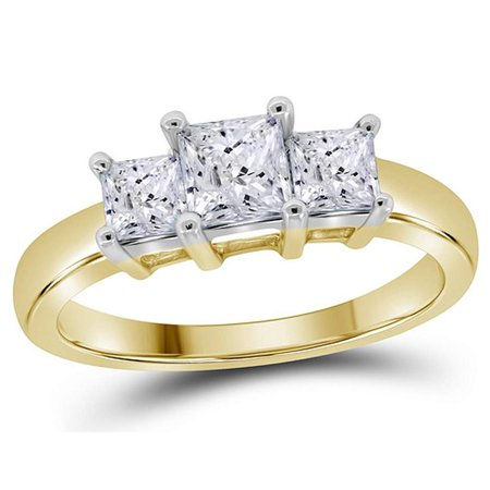 1.00 Carat (ctw) Color G-H, Clarity I1) Three Stone Princess Cut Diamond Anniversary Engagement Ring Gold in 14K Yellow and White Gold - image 2 de 2