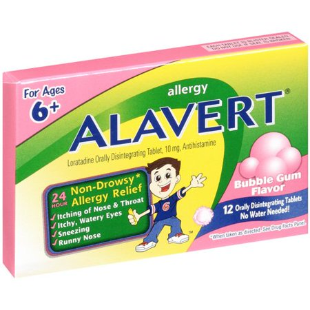 Image of Alavert Allergy Tablets Bubble Gum Flavor For Ages 6+ , 12 ct