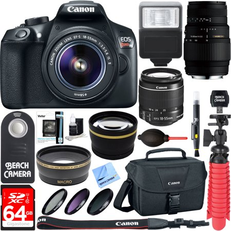 Canon Eos Rebel T6 Digital Slr Camera Wifi   18 55Mm Is Ii   Sigma 70 300Mm Macro Telephoto Zoom Lens Kit   Accessory Bundle 64Gb Sdxc Memory   Bag   Wide Angle Lens   2X Telephoto Lens Flash Tripod