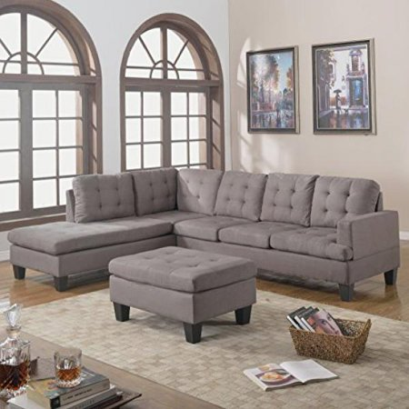 Divano roma furniture 3 piece reversible chaise sectional for Walmart grey sectional sofa