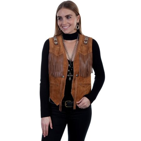 Scully Western Vest Womens Beaded Epaulettes Fringe Hand Laced L755 - Western Vests