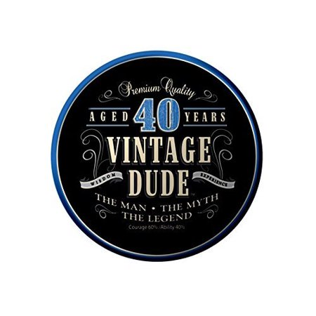 Vintage Dude 40th Birthday Edible Icing Image (6 inch round) - Vintage 40th Birthday Decorations