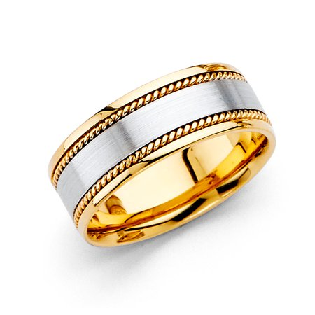 Solid 14k Yellow White Gold Band Wedding Ring Rope Edge Satin Finish Comfort Fit Two Tone 8 mm
