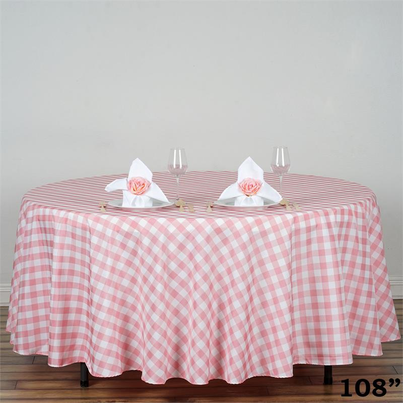 "BalsaCircle 108"" Round Gingham Checkered Polyester Tablecloth for Garden Party... by BalsaCircle"