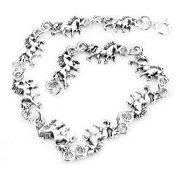 """Small Sterling Silver 6.75"""" Unicorn Fantasy Horse Charm Bracelet, Children and Adult"""