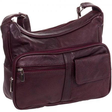 Red Leather Hobo (Roma Leathers Women's Wine Red Leather Crossbody Shoulder)