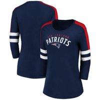 New England Patriots Fanatics Branded Women's Engage Double Team 3/4-Sleeve T-Shirt - Navy/Red