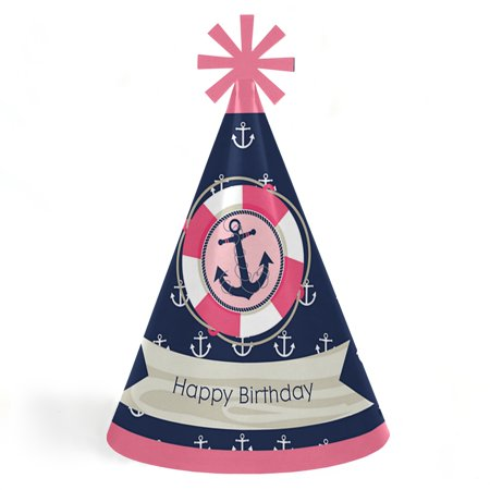 Ahoy - Nautical Girl - Cone Happy Birthday Party Hats for Kids and Adults - Set of 8 (Standard Size) (Nautical Birthday Hat)