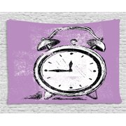 Doodle Tapestry, Retro Alarm Clock Figure with Grunge Effects Classic Vintage Sleep Graphic, Wall Hanging for Bedroom Living Room Dorm Decor, 80W X 60L Inches, Purple White Black, by Ambesonne