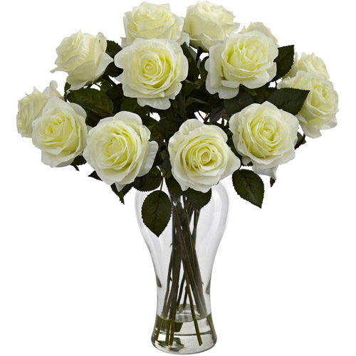 Nearly Natural Blooming Roses with Vase, White