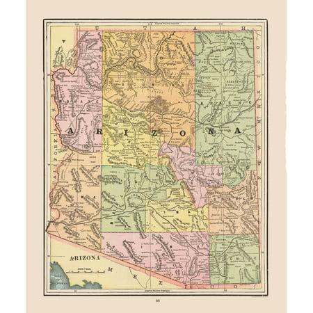Map Of Old Arizona.Old State Map Arizona Cram 1892 23 X 27 57