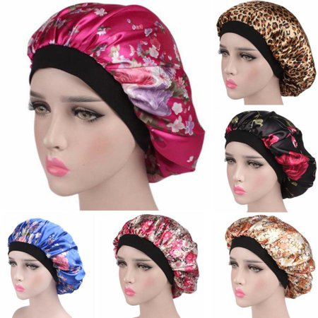 The Noble Collection Silk Night Sleep Cap Hair Bonnet Hat Head Cover Satin Turban Wrap Band Elastic