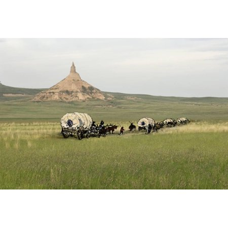 - Covered Wagons Passing Chimney Rock, a Landmark on the Oregon Trail, Nebraska Print Wall Art