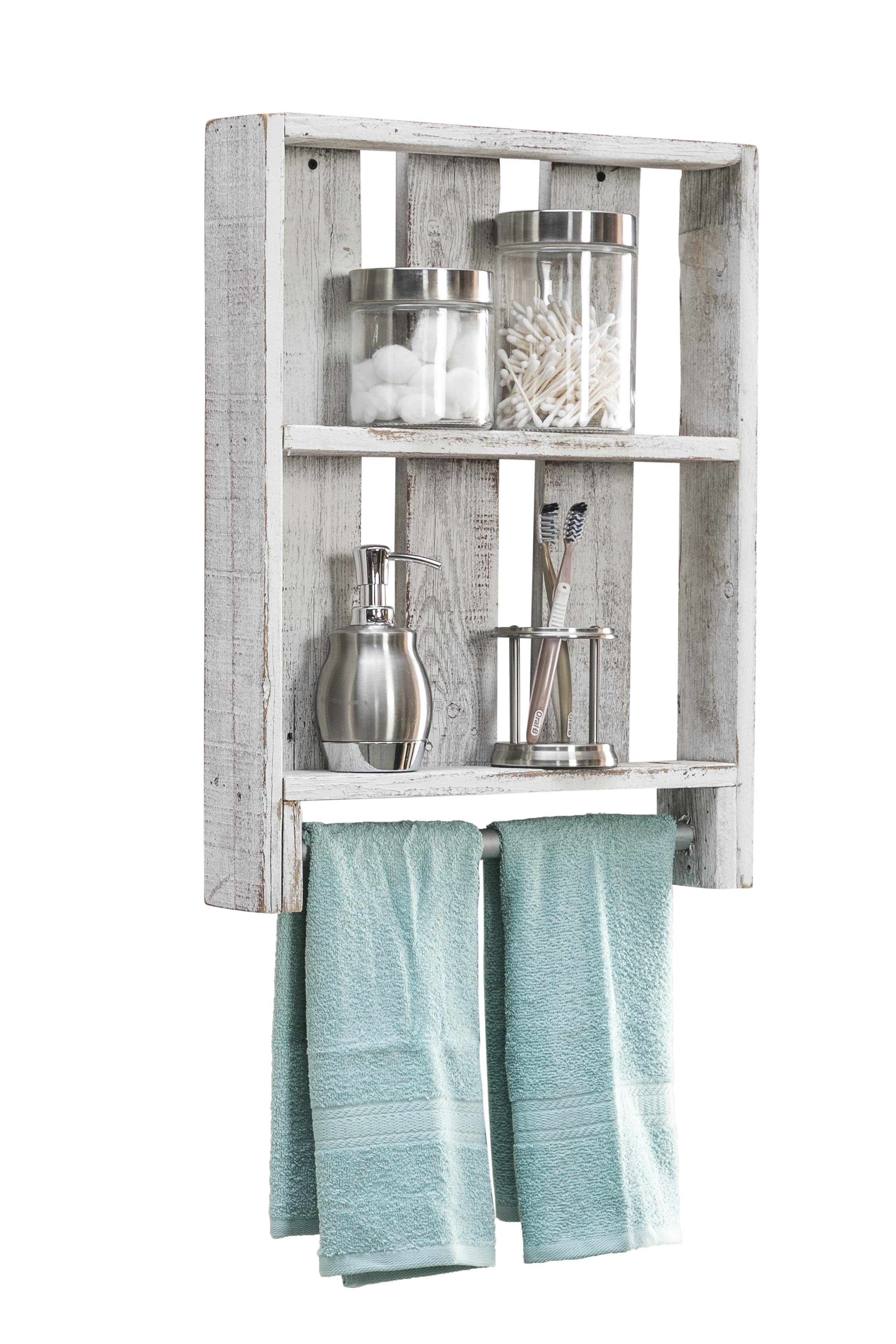 Reclaimed Wood Bathroom Plank Shelf with Towel Bar, Natural ...